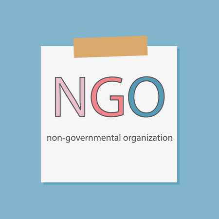 NGO Non-Governmental Organization in a notebook paper- vector illustration 矢量图像