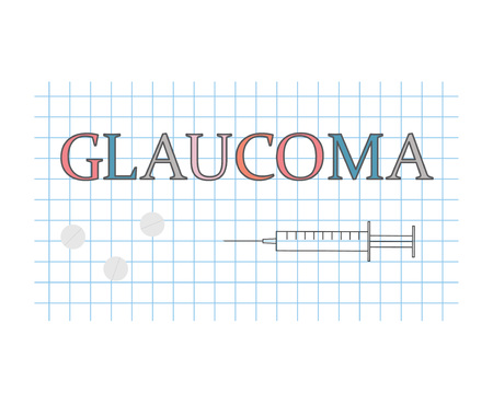 glaucoma word on checkered paper sheet- vector illustration Ilustracja
