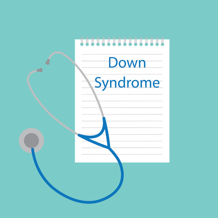 Down syndrome written in a notebook- vector illustration Illustration