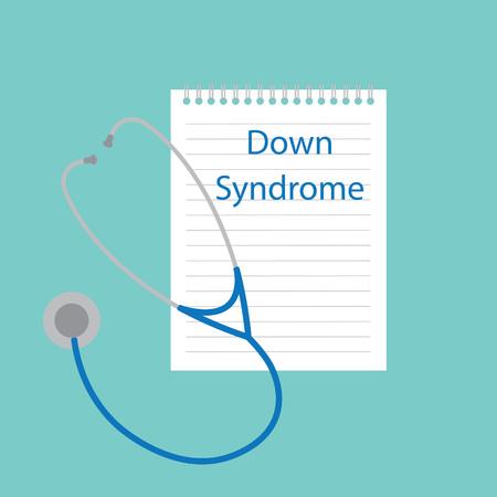 Syndrome de Down écrit dans une illustration vectorielle de cahier