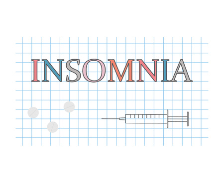 insomnia word on checkered paper sheet- vector illustration
