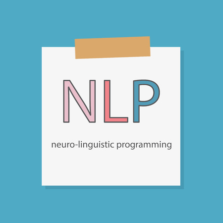 NLP Neuro Linguistic Programming written in a notebook paper- vector illustration