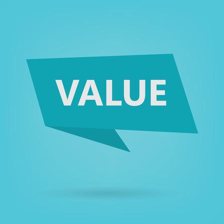 value word on sticker- vector illustration
