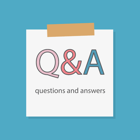 Q & A questions and answers written in a notebook paper- vector illustration