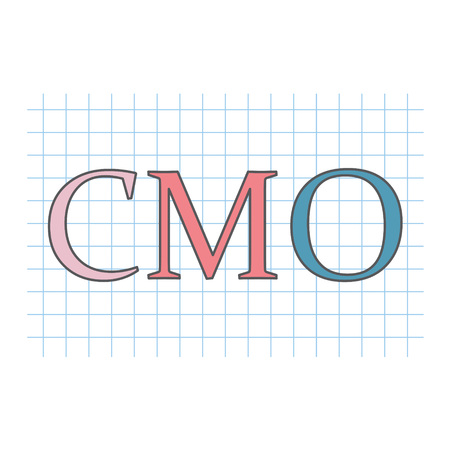 CMO (Chief Marketing Officer) written on checkered paper sheet- vector illustration 矢量图像
