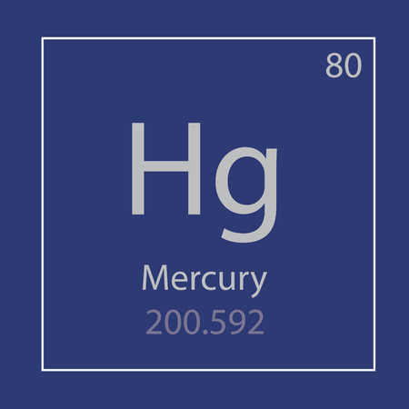Mercury Hg chemical element icon- vector illustration