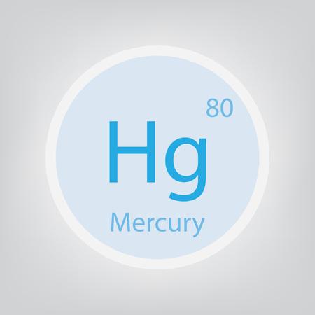 Mercury Hg chemical element icon- vector illustration