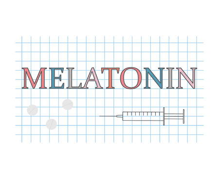 melatonin word on checkered paper sheet- vector illustration
