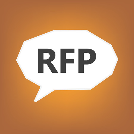 RFP (Request For Proposal) written on speech bubble- vector illustration Illustration