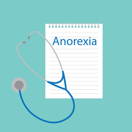 anorexia written in a notebook- vector illustration