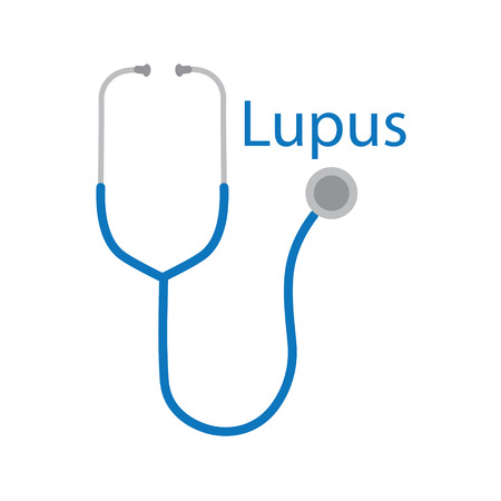 lupus word and stethoscope icon- vector illustration