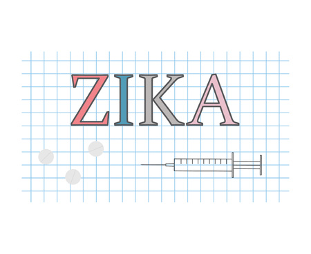 Zika on checkered paper sheet- vector illustration Vectores