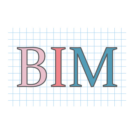 BIM (Building Information Modeling) written on checkered paper sheet- vector illustration Çizim