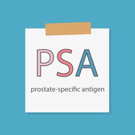PSA (Prostate-Specific Antigen) written in a notebook paper- vector illustration