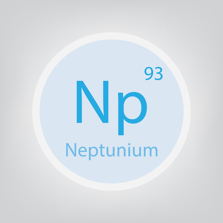 Neptunium. Np chemical element icon- vector illustration