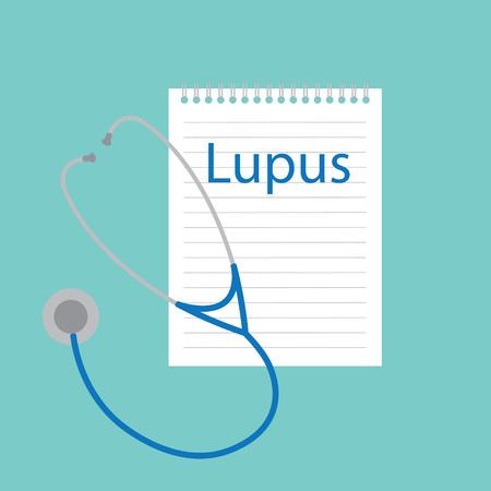 lupus written in a notebook- vector illustration