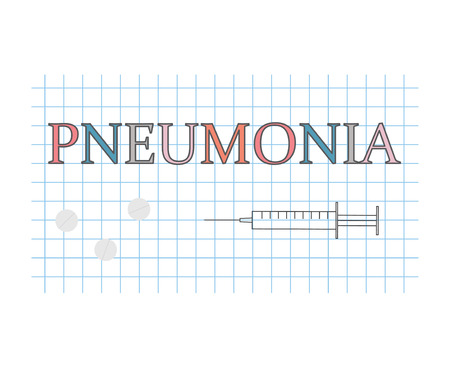 Pneumonia word on checkered paper sheet- vector illustration e42f7fcbd