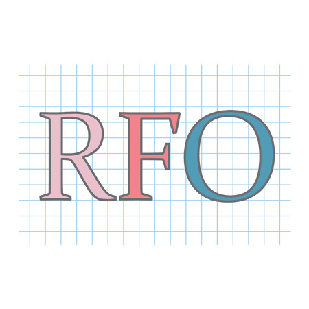 RFO (Request For Offer) written on checkered paper sheet- vector illustration