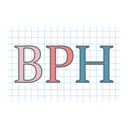 BPH (Benign Prostatic Hyperplasia) written on checkered paper sheet