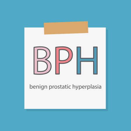 BPH (Benign Prostatic Hyperplasia) written in a notebook paper