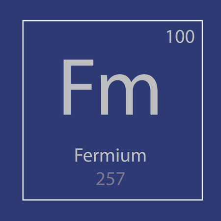 Fermium Fm chemical element icon- vector illustration