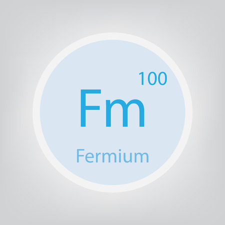 Fermium Fm chemical element icon- vector illustration