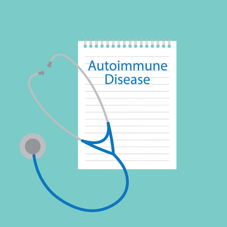 Autoimmune disease written in notebook and stethoscope icon Illustration