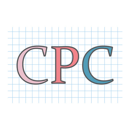 CPC (Cost Per Click) written on checkered paper sheet- vector illustration