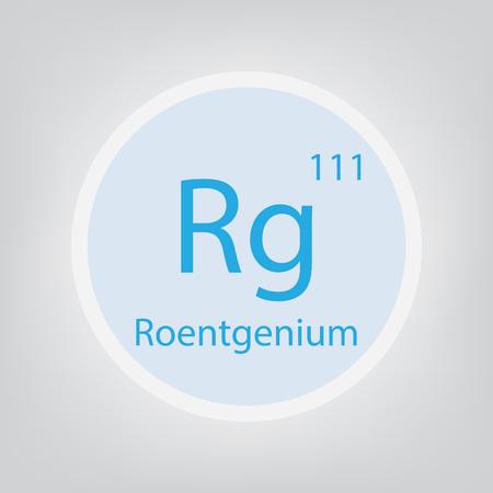 Roentgenium Rg chemical element icon- vector illustration