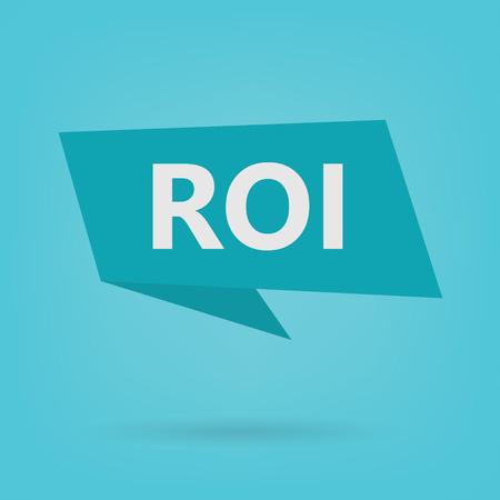 ROI (Return On Investment) acronym on sticker illustration Illustration