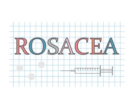 Rosacea word on checkered paper sheet illustration Illustration