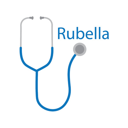 rubella word and stethoscope icon illustration