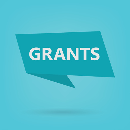grants word on sticker- vector illustration Vetores
