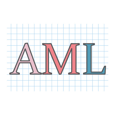 AML (Anti-money laundering) written on checkered paper sheet- vector illustration
