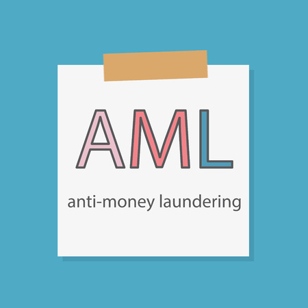 AML Anti-money laundering written in a notebook paper- vector illustration Banque d'images - 105696666