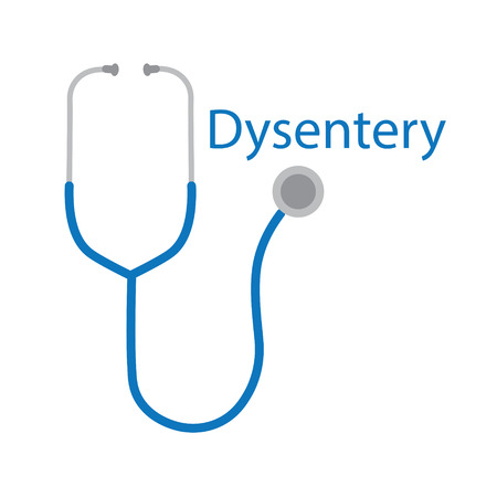 Dysentery word and stethoscope icon- vector illustration
