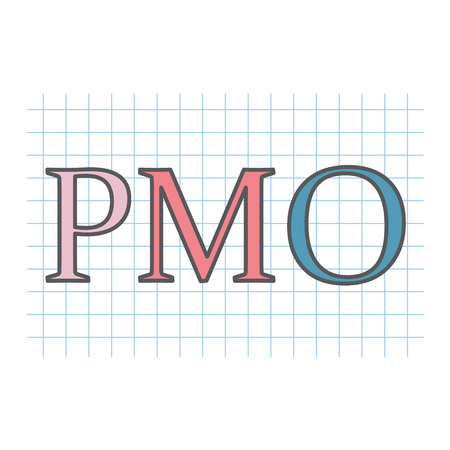 PMO (Project Management Office) written on checkered paper sheet
