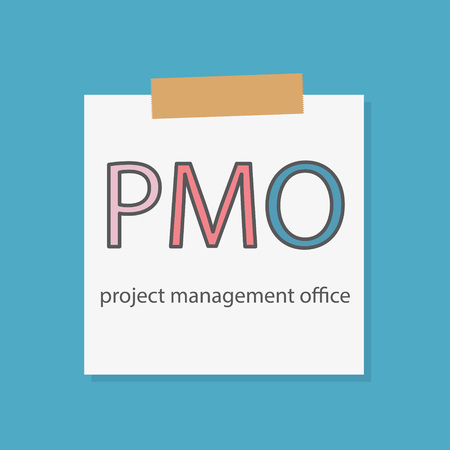 PMO Project Management Office written in a notebook paper- vector illustration