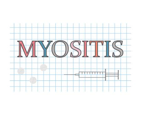 Myositis word on checkered paper sheet- vector illustration Illustration