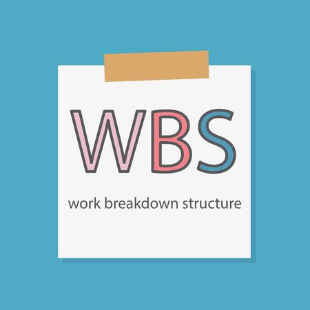 WBS Work Breakdown Structure written in a notebook paper- vector illustration