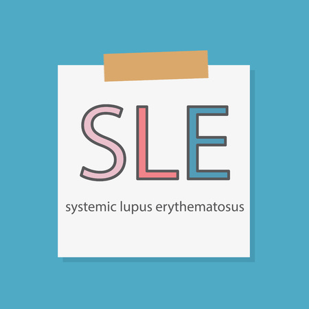 SLE Systemic Lupus Erythematosus written in a notebook paper- vector illustration Vettoriali