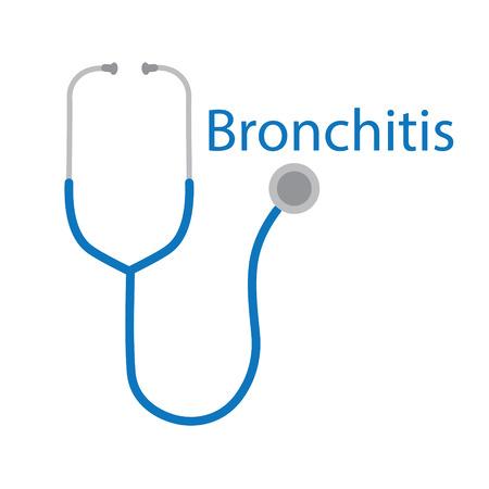 Bronchitis word and stethoscope icon- vector illustration Illustration