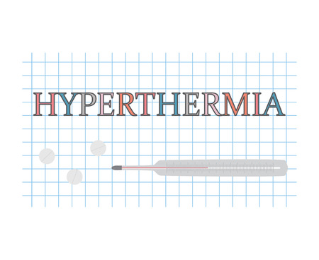 Hyperthermia word on checkered paper sheet- vector illustration
