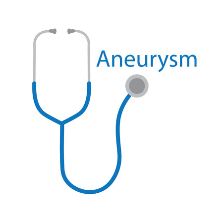 aneurysm word and stethoscope icon- vector illustration