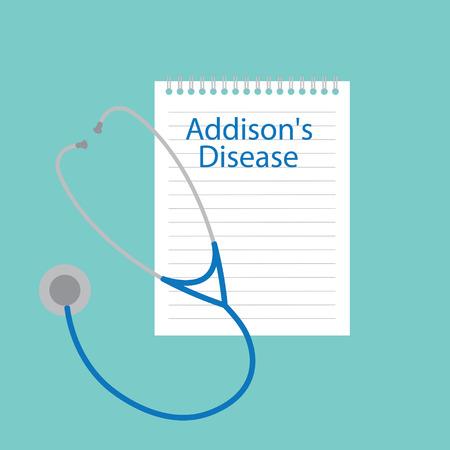 Maladie d'Addison écrite dans une illustration vectorielle de cahier