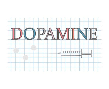 dopamine word on checkered paper sheet- vector illustration