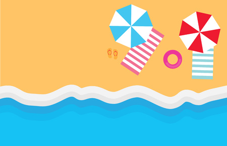 beach with umbrellas, towels and flip-flops- vector illustration