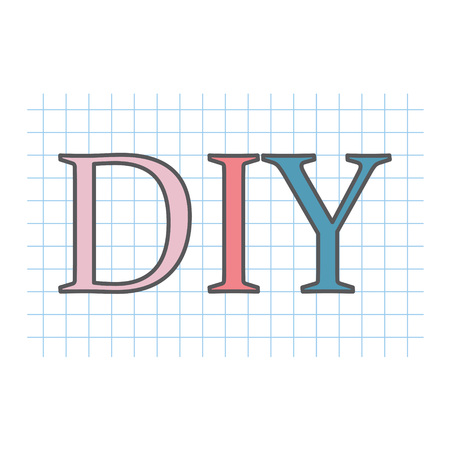 DIY (Do It Yourself) written on checkered paper sheet- vector illustration