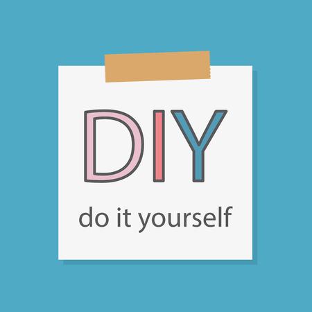 DIY Do It Yourself written in a notebook paper- vector illustration Vektorové ilustrace