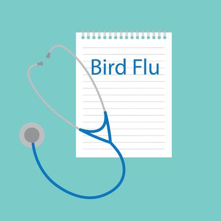 bird flu written in a notebook- vector illustration